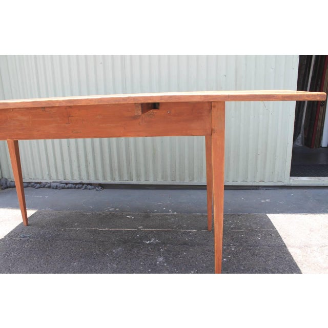 19th Century Original Salmon Painted Farm Table For Sale - Image 4 of 7