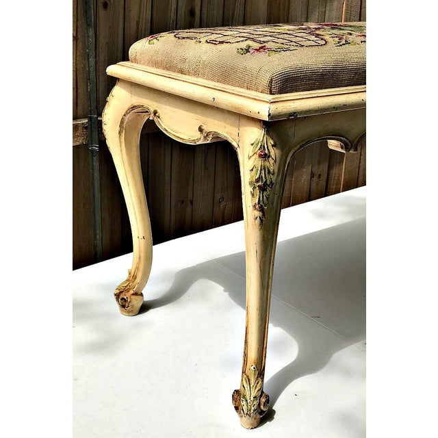 French Provincial Vintage French Provincial Bench with Needlepoint Fabric For Sale - Image 3 of 9