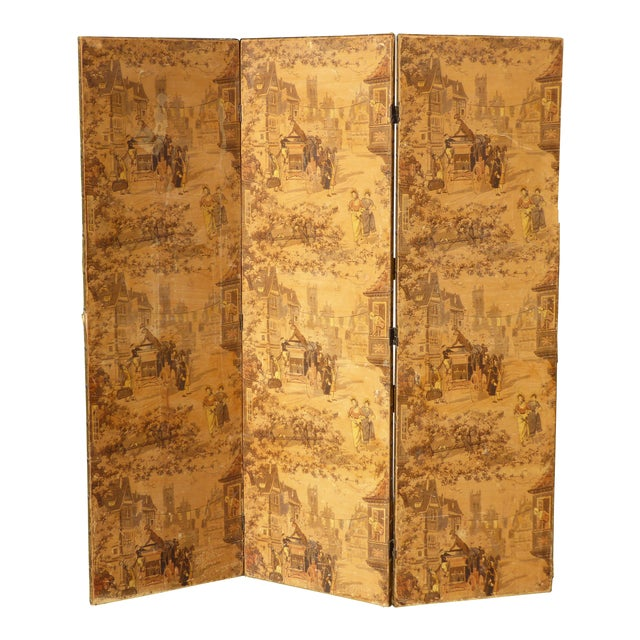 Vintage French Country Yellow 3 Panel Folding Screen - Image 1 of 11