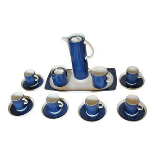 Blue & White Porcelain Demitasse Set For Sale