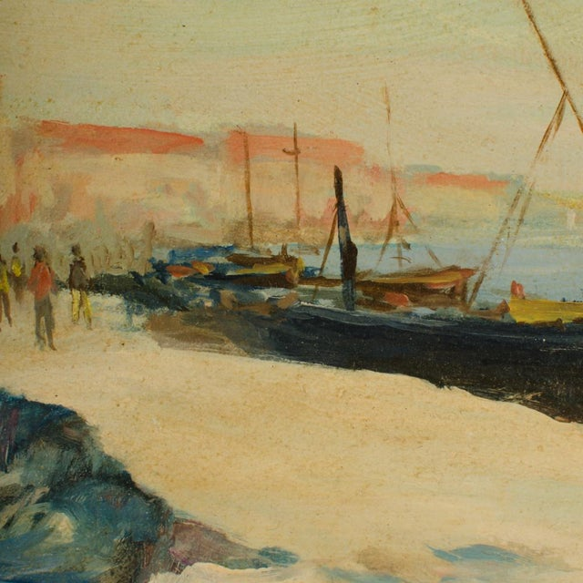 Early 20th Century Early 20th Century Harbor Scene Oil Painting by William Fraser, Framed For Sale - Image 5 of 10