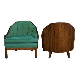 A. Brandt Company Ranch Oak Cowboy Western Style Barrel Club Chairs - a Pair