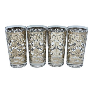 Mid Century Georges Briard Spanish Silver Highball Glasses Set of 4 For Sale