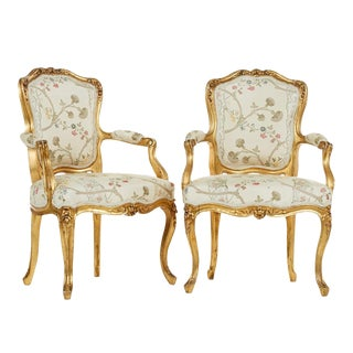 Early 1900's Antique Louis XV Style Armchairs - a Pair For Sale