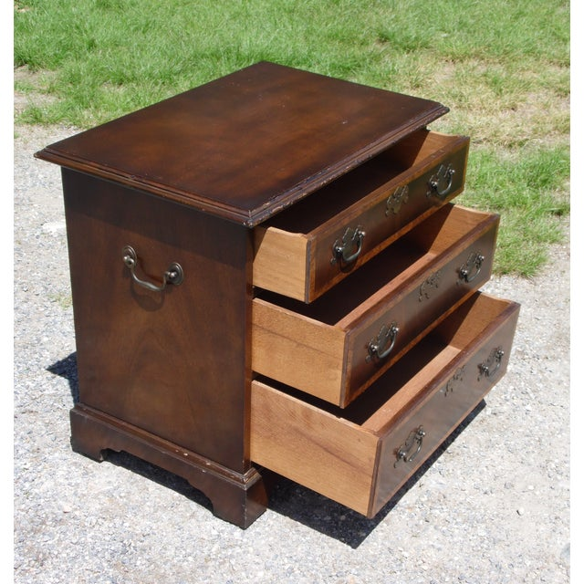 Metal Vintage English Provincial Style Mahogany Banded Chest End Table Night Stand For Sale - Image 7 of 13