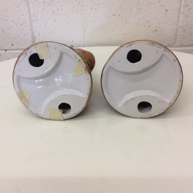 1970s Hollywood Regency Ceramics Cheetah Candle Holders - a Pair For Sale - Image 5 of 8