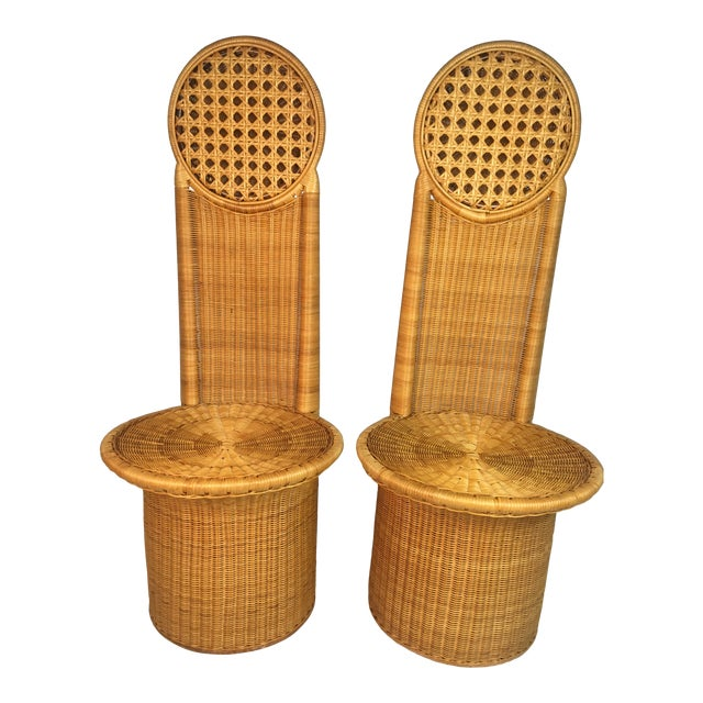1980s Vintage Rattan Chairs - a Pair For Sale