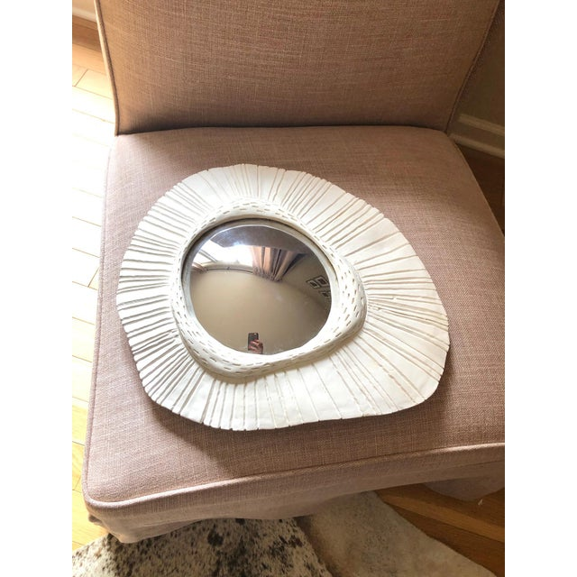 Gorgeous hand-made plaster convex/sunburst mirror with mercury glass mirror. It's hand-made in Paris. Dimensions: At the...