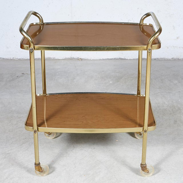 Metal 1960s Laminated Two-Shelf Rolling Serving Cart For Sale - Image 7 of 8