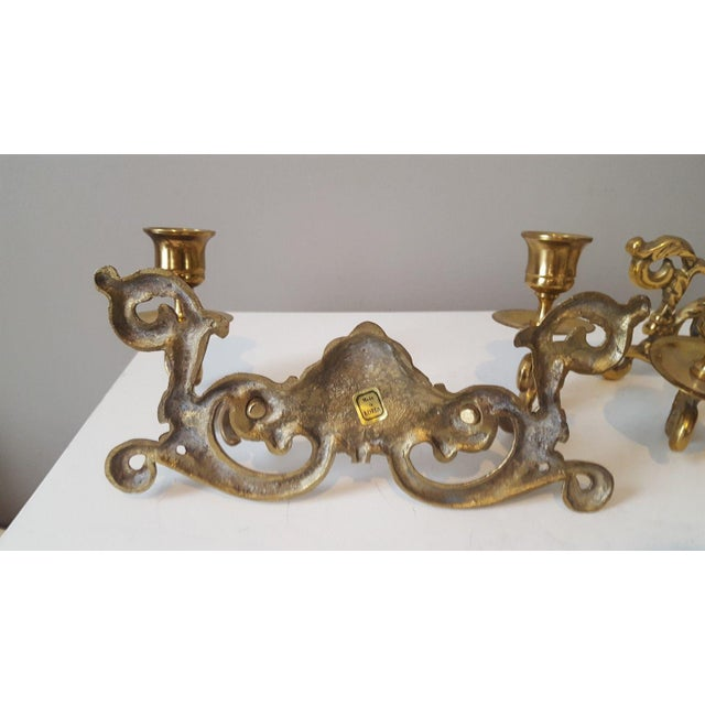 Hollywood Regency Brass Shell Two-Arm Candle Sconces - A Pair - Image 5 of 5