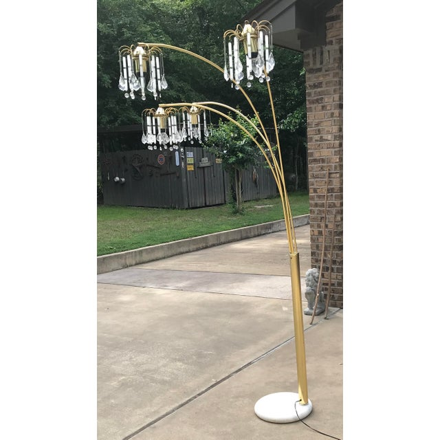 Mid-Century Modern Vintage Mid Century Waterfall Floor Lamp With Marble Base For Sale - Image 3 of 13
