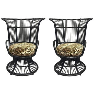 Black Bamboo Club Chairs - A Pair