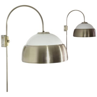 Italian Mid-Century Adjustable Chrome Wall Lights, 1960's For Sale