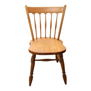 Traditional Maple Spoke Back Dining Chair With Scalloped Top For Sale