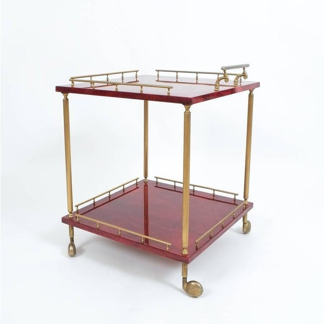 Italian Large Aldo Tura Bar Cart or Side Table, circa 1960 For Sale - Image 3 of 4