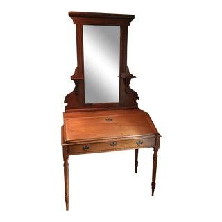 Slant Front Desk With Carved Mirror For Sale