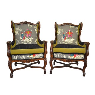 Vintage Wooden Framed Chairs- A Pair For Sale