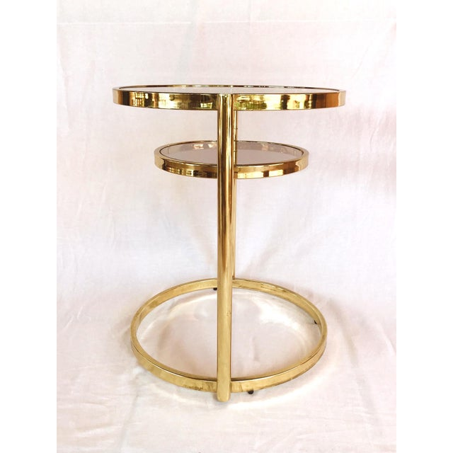 Hollywood Regency Brass and Smoked Glass Swivel Side Table by Dia, 1970's For Sale - Image 10 of 13