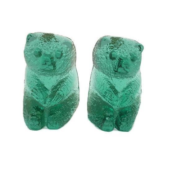 Vintage Blenko Glass Mint Green Bear Sculptures/Bookends - a Pair For Sale - Image 11 of 12