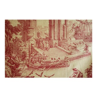 Vintage French Red Conglomerate Toile Curtain For Sale