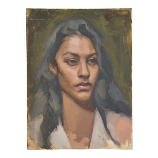 Vintage Female Portrait Oil Painting Study