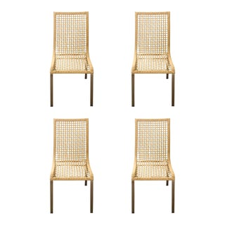 Mid-Century Modern Wicker Dining Chairs - Set of 4 For Sale