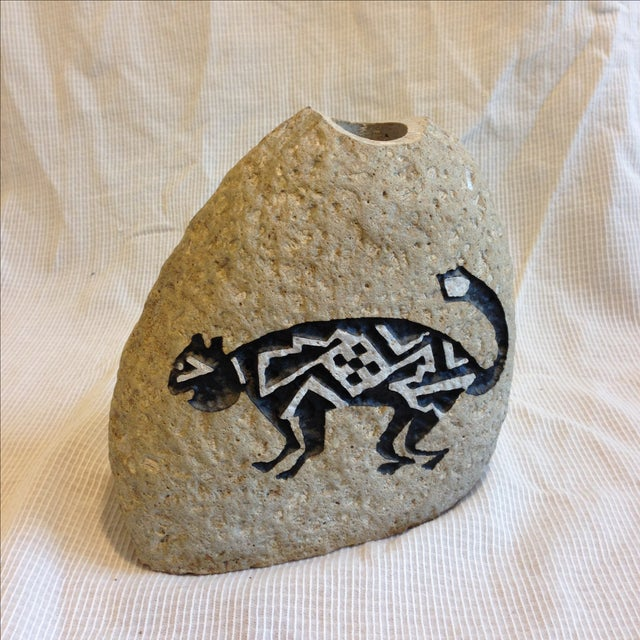 Southwestern Cat Motif Stone Vase by Bill Worthen - Image 2 of 8
