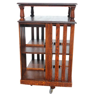 Fully Restored Quartered Oak Revolving Bookcase For Sale
