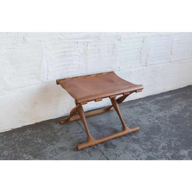 Campaign Poul Hundevad Leather Folding Guldhoj Ph 43 Stool For Sale - Image 3 of 6