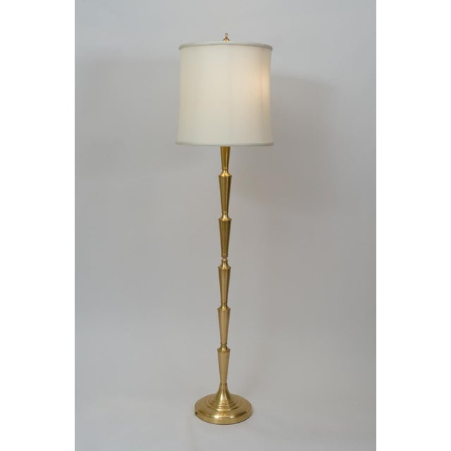 Art Deco Mid Century Modern Solid Brass Tall Floor Lamp For Sale - Image 3 of 12