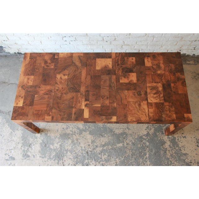 Directional Paul Evans for Directional Patchwork Burl Wood Parsons Extension Dining Table For Sale - Image 4 of 13