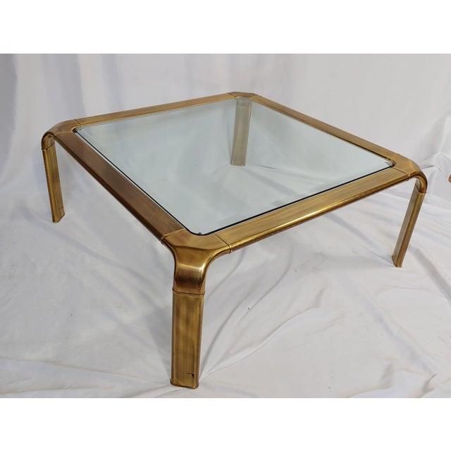 Mid-Century Modern 1970s John Widdicomb Brass Waterfall Coffee Table For Sale - Image 3 of 3