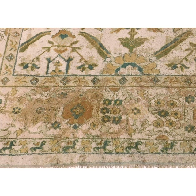 Distressed Antique Hand Knotted Indo-Oushak Rug - 12′ × 17′6″ For Sale - Image 4 of 6