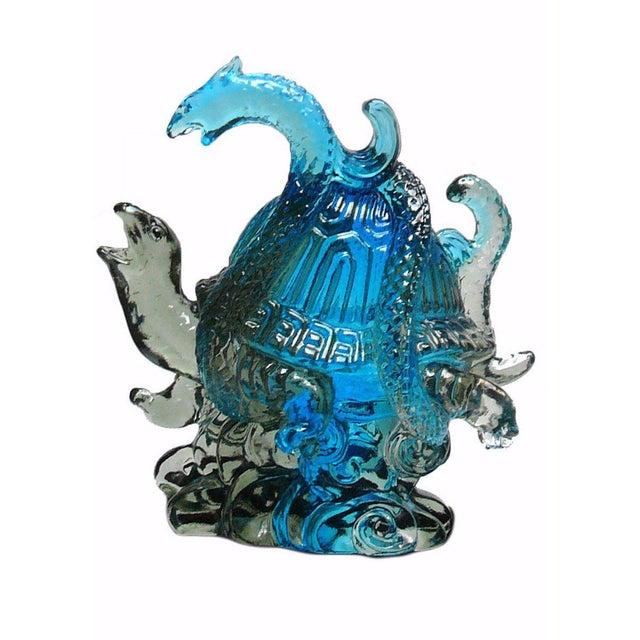 Chinese Liuli Crystal Glass Pate-de-verre Turtle Celestial Animals Figure For Sale - Image 5 of 5