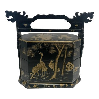 Chinese Black Lacquer Lunch Box Jewelry Case For Sale