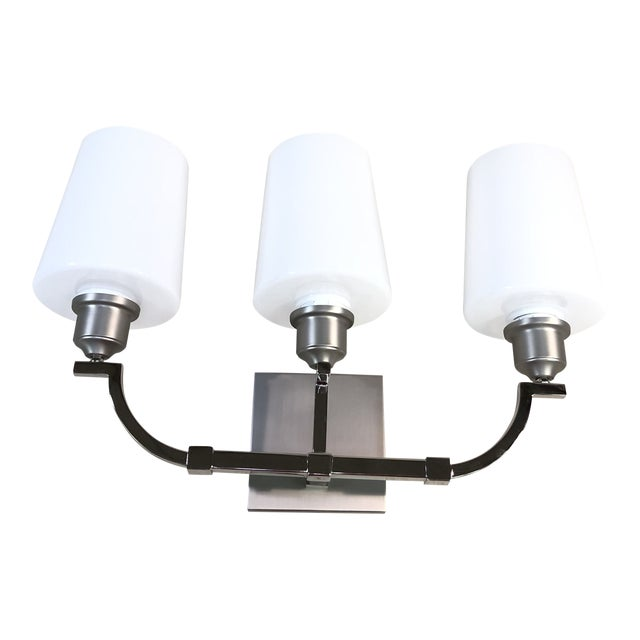 Feiss Preakness 3-Light Satin Nickel / Polished Nickel Vanity Wall Light For Sale