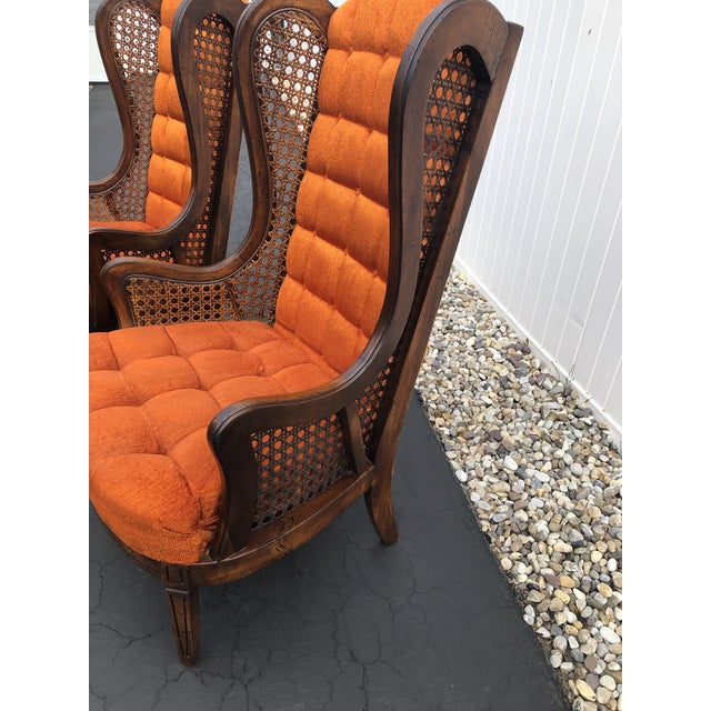1970s Hollywood Regency Orange Velvet Canes Wingback Chairs - a Pair For Sale - Image 9 of 10