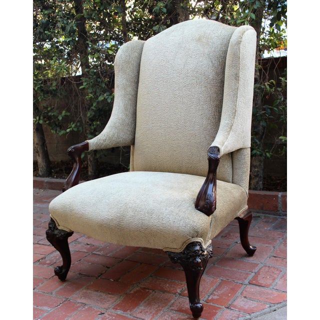 Antique Italian Wingback With Ornate Floral Carving For Sale In San Diego - Image 6 of 6