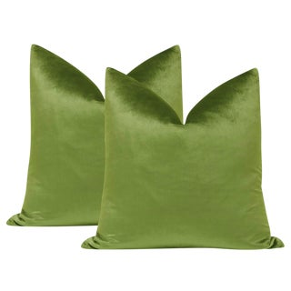 "22"" Italian Silk Velvet Pillows in Peridot - a Pair For Sale"