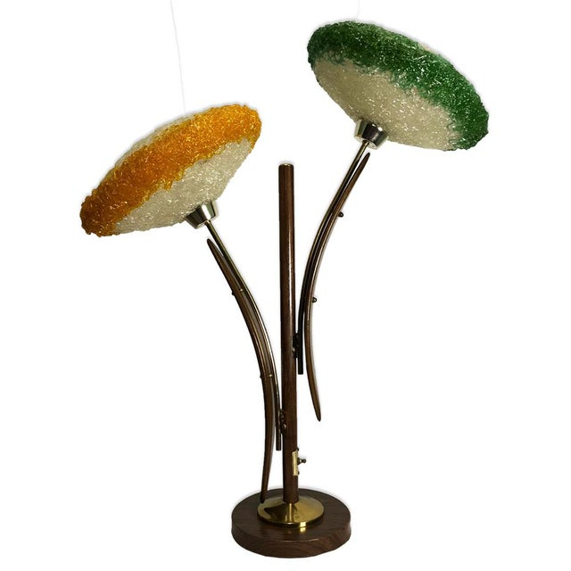 Brass Mid Century Modern Atomic Age Lucite Spaghetti Teak Lamp Light For Sale - Image 7 of 7