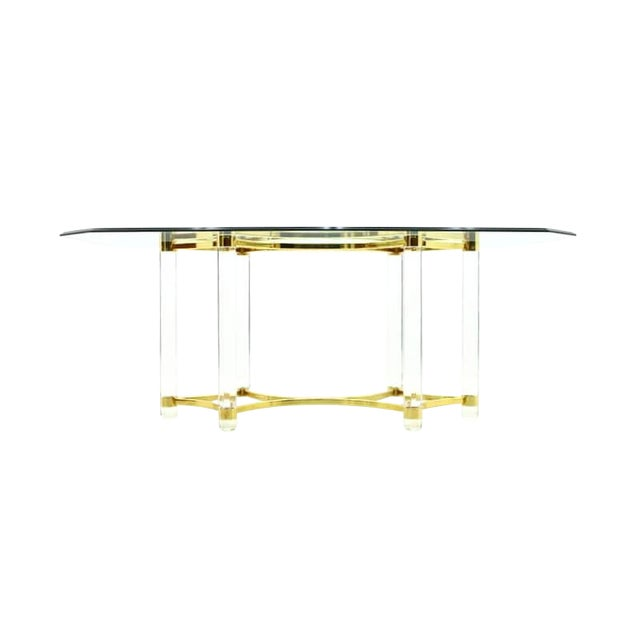 Lucite, Glass and Brass Dining Table, Romeo Paris, 1980s For Sale