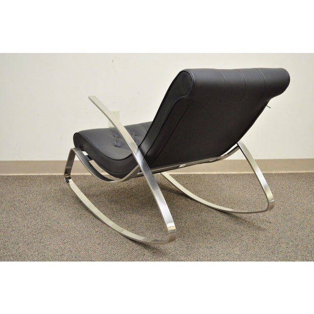 Contemporary Modern Chrome Steel Rocker Rocking Lounge Chair Mid Century Style - Image 5 of 10