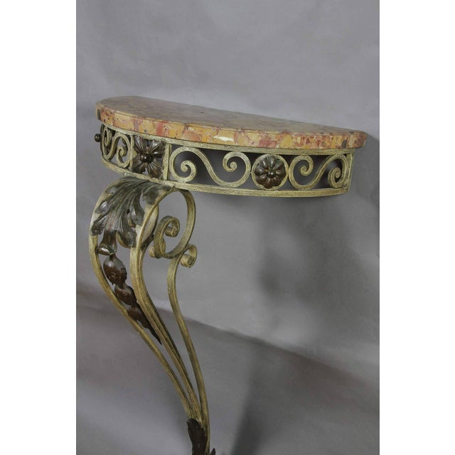 French Louis XVI Style Wrought Iron and Marble-Top Petite Demilune Console Table For Sale - Image 3 of 7