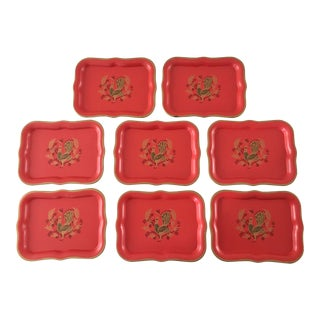 1970s Vintage Tole Trays - Set of 8 For Sale
