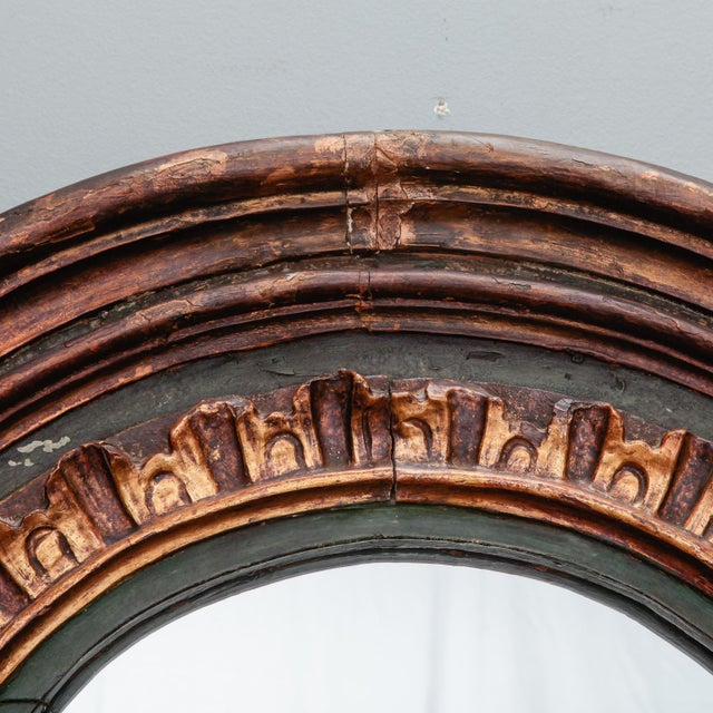 French 19th Century French Painted Mirror With Carved and Gilded Detailing For Sale - Image 3 of 8