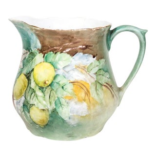 European Hand Painted Lemonade Pitcher For Sale