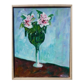 "Impressionist ""Two French Roses in a Vase"" by Martha Holden For Sale"