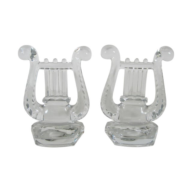 Glass Lyre Bookends For Sale