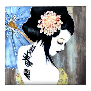 """Patrick Briggs """"My Geisha' 2021 Acrylic Painting on Wooden Ming Side Table For Sale"""