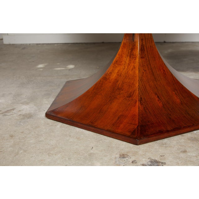 1970s Italian Round Pedestal Dining Table of Palisander Wood For Sale - Image 5 of 12